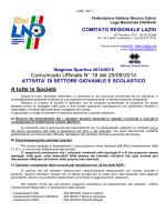 Comunicato Ufficiale N° 18 del 25/09/2014 A tutte le Società