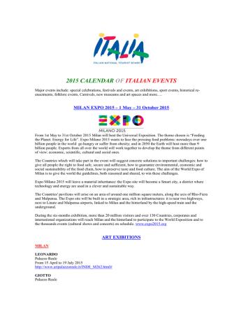 2015 CALENDAR OF ITALIAN EVENTS