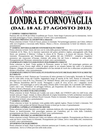 1° GIORNO: URBINO/TROYES Partenza alle ore 05:00 da Urbino in