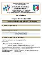 Comunicato n.12 - FIGC Comitato Regionale Emilia Romagna