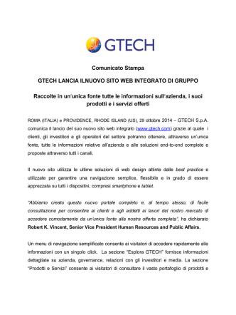 Comunicato Stampa GTECH LANCIA ILNUOVO SITO WEB