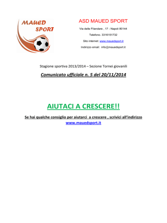 comunicato n. 5 del 20/11/2014
