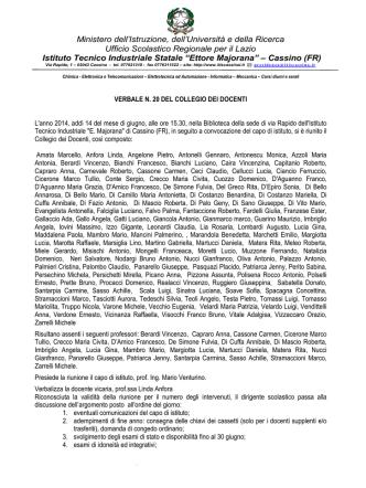 comunicazione di servizio n - Istituto Tecnico Industriale Ettore