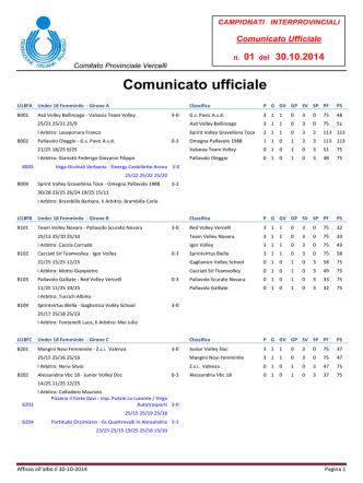 Comunicato n. 01 2014-15