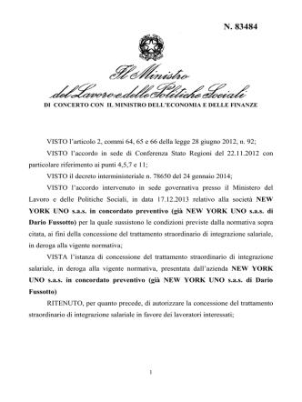 Decreto n. 83484 del 28/07/2014 - Ministero del Lavoro e delle