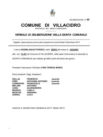 Deliberazione Giunta Comunale n. 90 del 20.06.2014