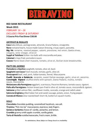 2015 Red Bank Restaurant Week Menu