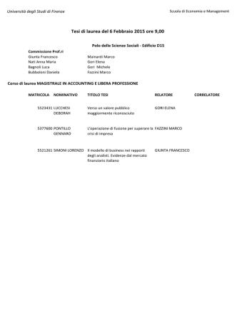 Calendario tesi CORSI DI STUDIO SECONDO LIVELLO