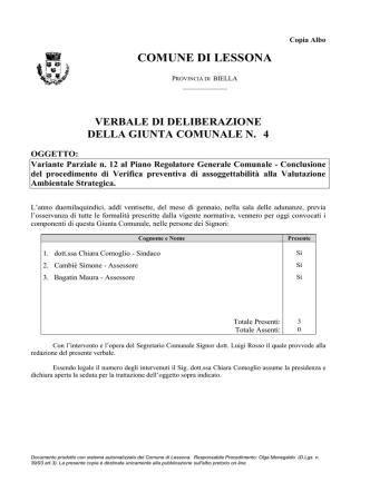 Deliberazione della Giunta Comunale n° 4 del 27.01.2015 di
