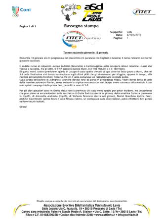 27/01/2015 • Fitet Trentino • Torneo nazionale giovanile 18 gennaio