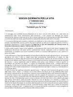 XXXVIII GIORNATA PER LA VITA