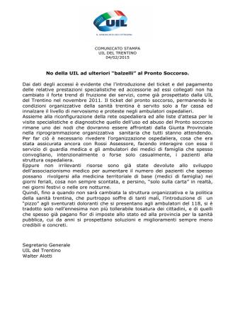 Comunicato Stampa Uil del Trentino 04/02/2015