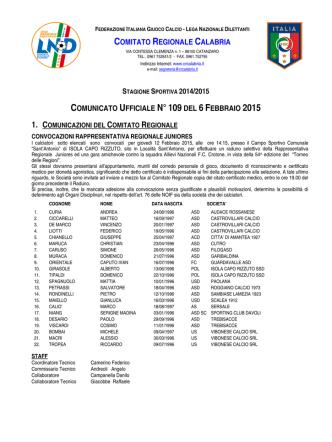 Comunicato Ufficiale n. 109 del 6 Febbraio 2015