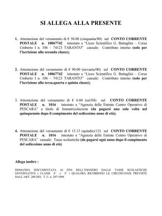 Allegato quote versamenti - Liceo Scientifico Statale Battaglini