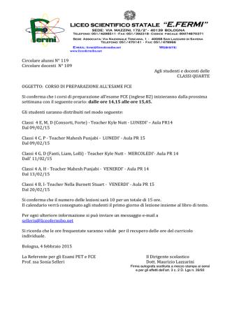 CIRCOLARE ALUNNI N119. Corsi FCE Classi Quarte