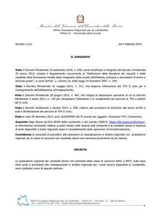 Decreto Prot. n. MIUR AOODRLO R.U. 221 del 4 febbraio 2015