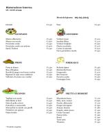 Menu del 09 Febrraio 2015 - CRAL Aziendale Fondiaria