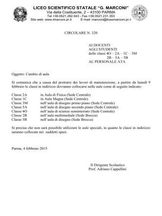 Cambio aula - Liceo Scientifico Guglielmo Marconi