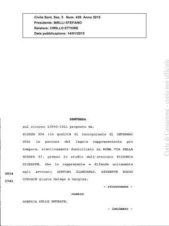 Corte di Cassazione, Sentenza n.