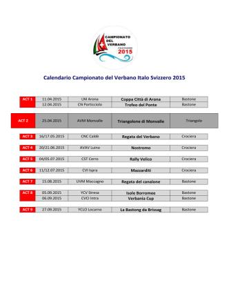Calendario Campionato del Verbano Italo Svizzero 2015