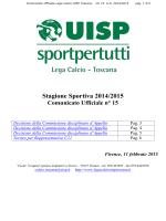 Comunicato Ufficiale n°15 - Lega calcio regionale toscana UISP