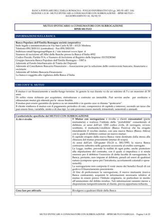 bper mutuo con surrogazione - Banca Popolare dell`Emilia Romagna
