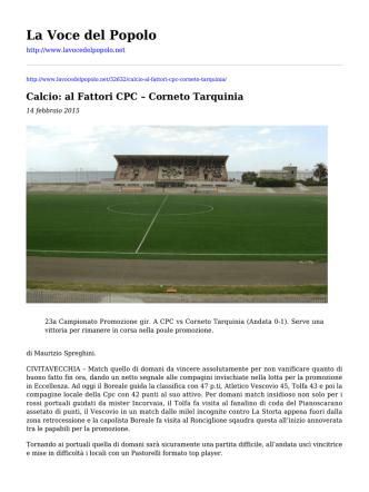 Calcio: al Fattori CPC - Corneto Tarquinia