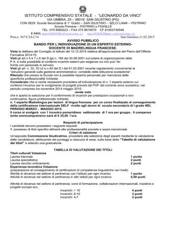 bando esperto esterno madrelingua francese 2015
