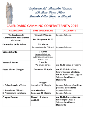calendario cammino confraternita 2015