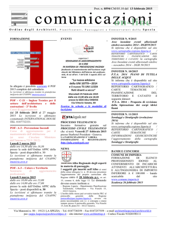 comunicazioni on-line - Ordine degli Architetti pianificatori