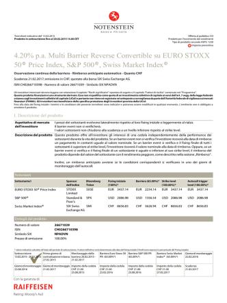 4.20% p.a. Multi Barrier Reverse Convertible su EURO STOXX 50
