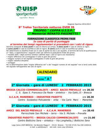 Calendario febbraio 2015 Coppa Uisp Over 35