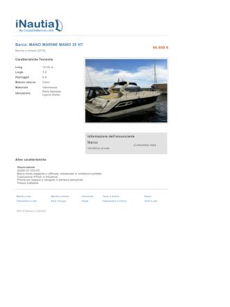 Barca: MANO MARINE MANO 35 HT