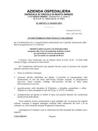AVVISO n. 2 PSICHIATRA FEBBRAIO 2015