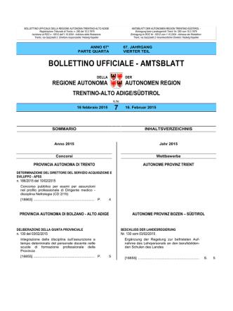 Bollettino n. 7 del 16 febbraio 2015