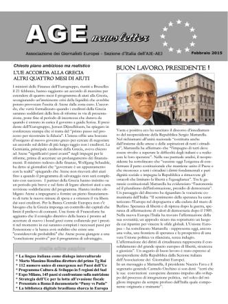 BUON LAVORO, PRESIDENTE ! - Associazione Giornalisti Europei