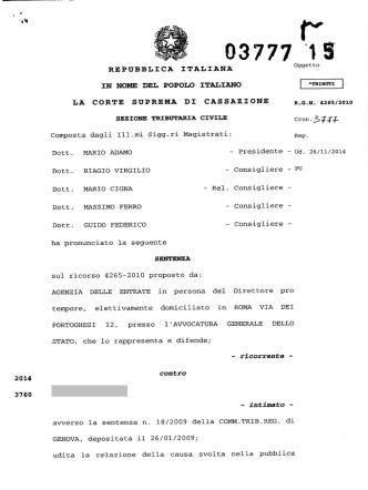 Corte di Cassazione, sez. trib., sentenza 25/02/2015, n. 3777