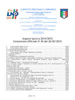 Comunicato Ufficiale N°45 del 26/02/2015