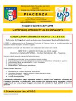 Comunicato Ufficiale N° 32 del 25/02/2015