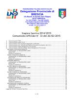 26/02/2015 - Comunicato ufficiale N.33