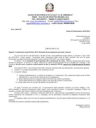 Circolare n. 183 - Commissioni esami di Stato 2015