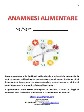 anamnesi - Alessio Paggi