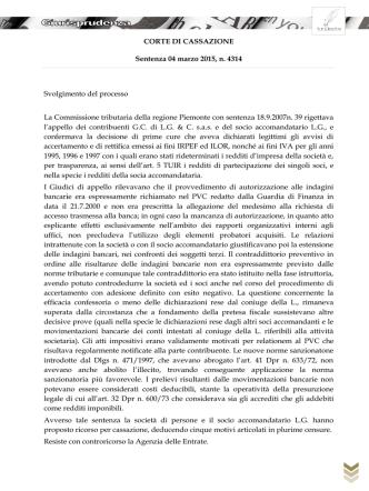 Corte di Cassazione del 4 marzo 2015 n. 4314