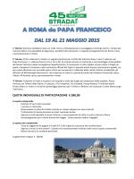 roma incontriamo papa francesco dal 19 al 21 maggio