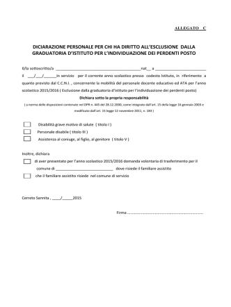 ALLEGATO C – dichiarazione esclusione graduatoria