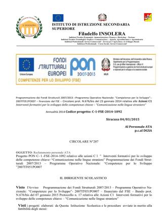 Circolare N. 207 - I.I.S.S. Principe di Napoli