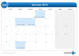 Calendario mensile 2015 & Giorni festivi 2015