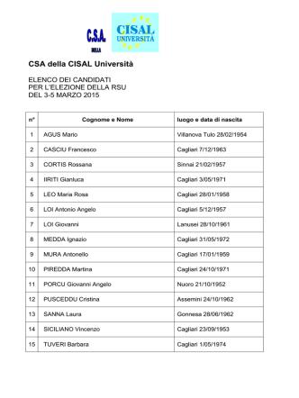 CSA della CISAL Università - Università degli studi di Cagliari.