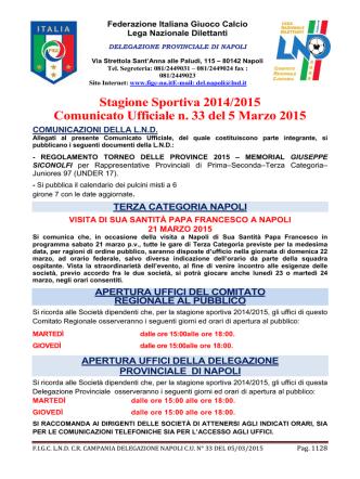 C.U. 33 DEL 05-03-2015