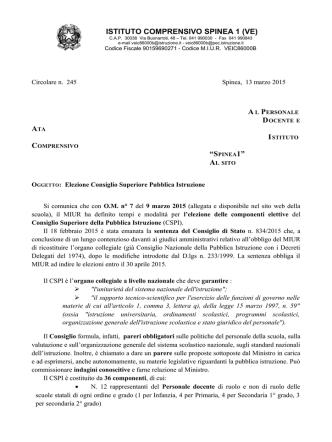 Circolare n. 245 - Elezione Consiglio Superiore Pubblica Istruzione